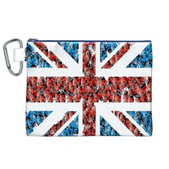 Fun And Unique Illustration Of The Uk Union Jack Flag Made Up Of Cartoon Ladybugs Canvas Cosmetic Bag (xl) by BangZart