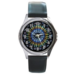 Stained Glass Rose Window In France s Strasbourg Cathedral Round Metal Watch