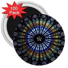 Stained Glass Rose Window In France s Strasbourg Cathedral 3  Magnets (100 Pack)