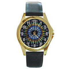 Stained Glass Rose Window In France s Strasbourg Cathedral Round Gold Metal Watch