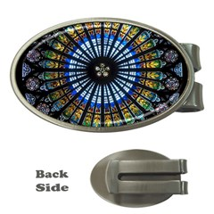 Stained Glass Rose Window In France s Strasbourg Cathedral Money Clips (oval)