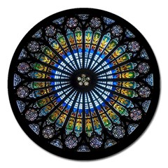Stained Glass Rose Window In France s Strasbourg Cathedral Magnet 5  (round) by BangZart