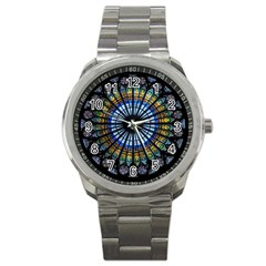 Stained Glass Rose Window In France s Strasbourg Cathedral Sport Metal Watch by BangZart