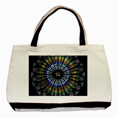 Stained Glass Rose Window In France s Strasbourg Cathedral Basic Tote Bag by BangZart
