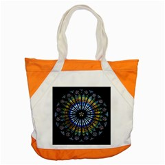 Stained Glass Rose Window In France s Strasbourg Cathedral Accent Tote Bag by BangZart