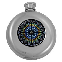 Stained Glass Rose Window In France s Strasbourg Cathedral Round Hip Flask (5 Oz) by BangZart