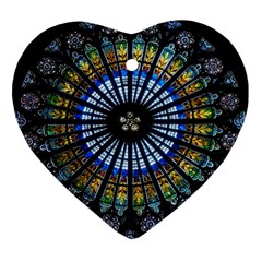 Stained Glass Rose Window In France s Strasbourg Cathedral Heart Ornament (two Sides) by BangZart
