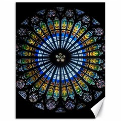 Stained Glass Rose Window In France s Strasbourg Cathedral Canvas 18  X 24   by BangZart