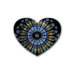 Stained Glass Rose Window In France s Strasbourg Cathedral Rubber Coaster (heart)  by BangZart
