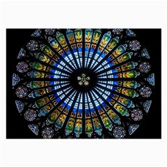 Stained Glass Rose Window In France s Strasbourg Cathedral Large Glasses Cloth by BangZart