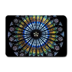 Stained Glass Rose Window In France s Strasbourg Cathedral Small Doormat  by BangZart