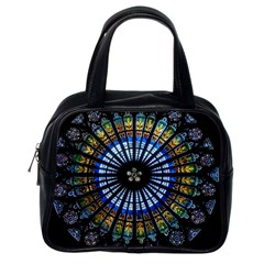 Stained Glass Rose Window In France s Strasbourg Cathedral Classic Handbags (one Side)