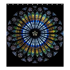 Stained Glass Rose Window In France s Strasbourg Cathedral Shower Curtain 66  X 72  (large)