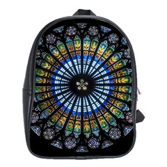 Stained Glass Rose Window In France s Strasbourg Cathedral School Bags(large)  by BangZart