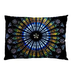 Stained Glass Rose Window In France s Strasbourg Cathedral Pillow Case (two Sides) by BangZart