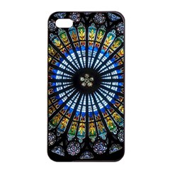 Stained Glass Rose Window In France s Strasbourg Cathedral Apple Iphone 4/4s Seamless Case (black) by BangZart