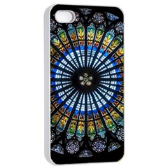 Stained Glass Rose Window In France s Strasbourg Cathedral Apple Iphone 4/4s Seamless Case (white) by BangZart