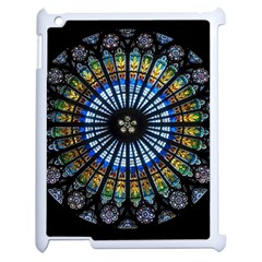 Stained Glass Rose Window In France s Strasbourg Cathedral Apple Ipad 2 Case (white) by BangZart