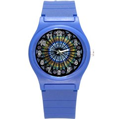 Stained Glass Rose Window In France s Strasbourg Cathedral Round Plastic Sport Watch (s) by BangZart
