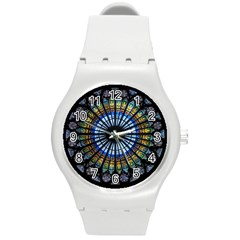 Stained Glass Rose Window In France s Strasbourg Cathedral Round Plastic Sport Watch (m)