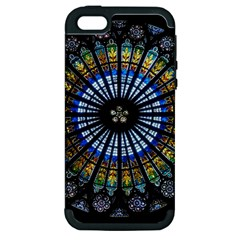Stained Glass Rose Window In France s Strasbourg Cathedral Apple Iphone 5 Hardshell Case (pc+silicone)