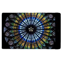 Stained Glass Rose Window In France s Strasbourg Cathedral Apple Ipad 2 Flip Case by BangZart