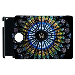 Stained Glass Rose Window In France s Strasbourg Cathedral Apple Ipad 2 Flip 360 Case by BangZart