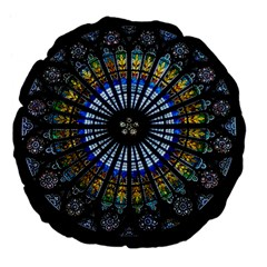 Stained Glass Rose Window In France s Strasbourg Cathedral Large 18  Premium Flano Round Cushions by BangZart