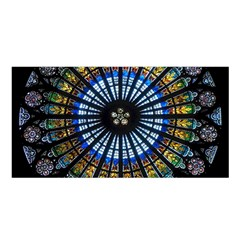Stained Glass Rose Window In France s Strasbourg Cathedral Satin Shawl by BangZart