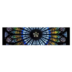 Stained Glass Rose Window In France s Strasbourg Cathedral Satin Scarf (oblong)