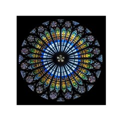 Stained Glass Rose Window In France s Strasbourg Cathedral Small Satin Scarf (square)