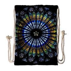 Stained Glass Rose Window In France s Strasbourg Cathedral Drawstring Bag (large) by BangZart
