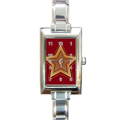 Christmas Star Seamless Pattern Rectangle Italian Charm Watch by BangZart