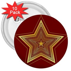 Christmas Star Seamless Pattern 3  Buttons (10 Pack)  by BangZart