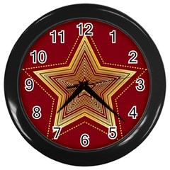 Christmas Star Seamless Pattern Wall Clocks (black)