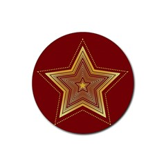 Christmas Star Seamless Pattern Rubber Coaster (round)  by BangZart