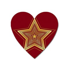 Christmas Star Seamless Pattern Heart Magnet by BangZart