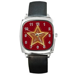 Christmas Star Seamless Pattern Square Metal Watch