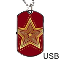 Christmas Star Seamless Pattern Dog Tag Usb Flash (one Side)