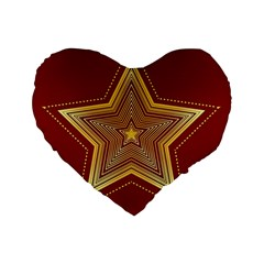 Christmas Star Seamless Pattern Standard 16  Premium Flano Heart Shape Cushions by BangZart
