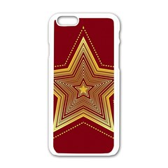 Christmas Star Seamless Pattern Apple Iphone 6/6s White Enamel Case by BangZart
