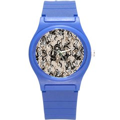 Dragon Pattern Background Round Plastic Sport Watch (s)