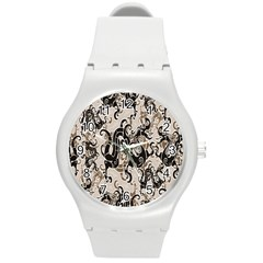 Dragon Pattern Background Round Plastic Sport Watch (m)