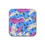 Tulips Floral Pattern Rubber Square Coaster (4 pack)