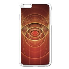 The Rusty Red Fractal Scarab Of Fiery Old Man Ra Apple Iphone 6 Plus/6s Plus Enamel White Case by jayaprime