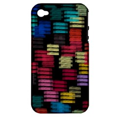 Colorful Horizontal Paint Strokes                   Apple Iphone 3g/3gs Hardshell Case (pc+silicone) by LalyLauraFLM