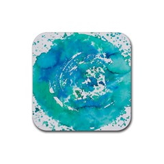Blue Watercolors Circle                          Rubber Square Coaster (4 Pack by LalyLauraFLM
