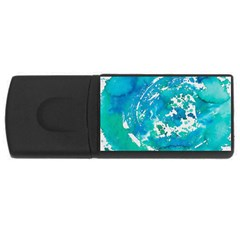 Blue Watercolors Circle                          Usb Flash Drive Rectangular (4 Gb) by LalyLauraFLM