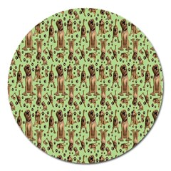 Puppy Dog Pattern Magnet 5  (round) by BangZart