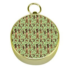 Puppy Dog Pattern Gold Compasses